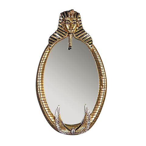 Design Toscano The Spirit of Tutankhamen: Egyptian Oval Mirror Wall Sculpture - Black - A