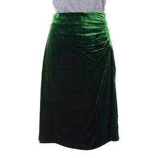 Prada Womens Green Velvet Ruched Side Silk Lined Mini Skirt