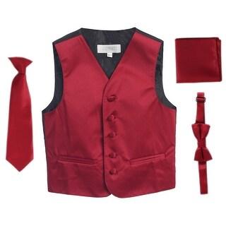 Burgundy Vest Necktie Bowtie Pocket Square Boys Set 8-14