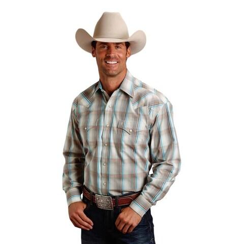 Stetson Western Shirt Mens L/S Plaid Snap Gray