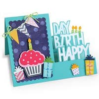 Step-Ups Happy Birthday - Sizzix Framelits Dies By Stephanie Barnard 20/Pkg