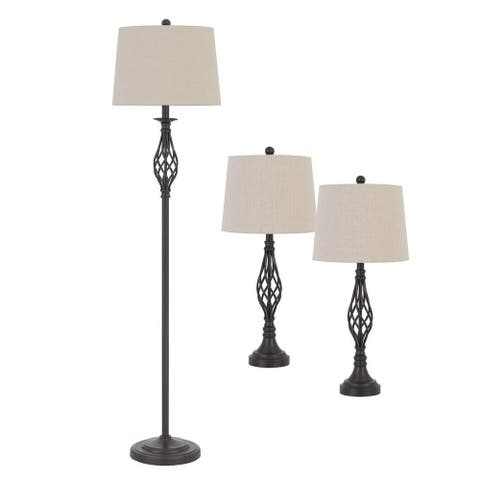 Twisted Cage Design Metal Floor Lamp with 2 Table Lamps, Bronze