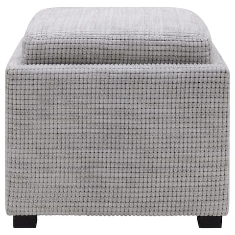 Cameron Square Fabric Storage Ottoman with Tray