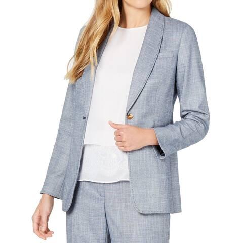 Calvin Klein Women Blazer Blue Size 14 Chambray One-Button Shawl-Collar
