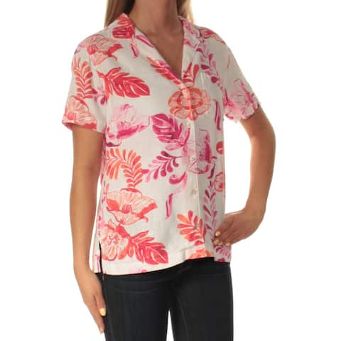 TOMMY BAHAMA Womens Red Floral Short Sleeve Collared Top Size: 2XS