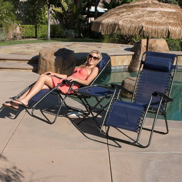 Belleze Set of 2 Zero Gravity Chair with Table Set, Reclining Patio Outdoor Lounge Chairs -Navy