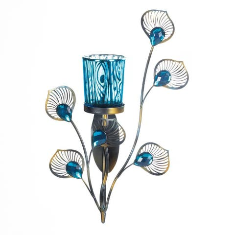 Antique Peacock Inspired Single Sconce