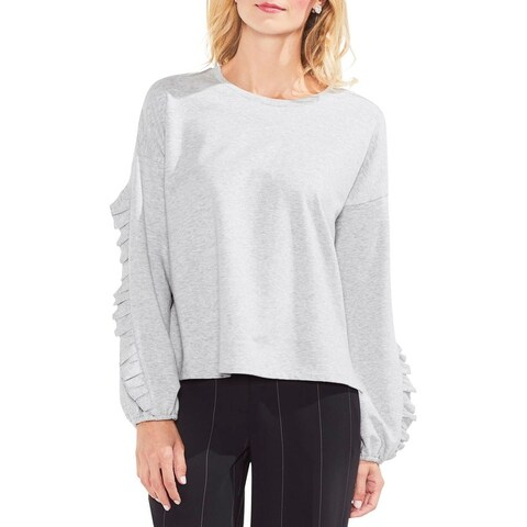 Vince Camuto Womens Sweatshirt Ruffled Bishop Sleeve