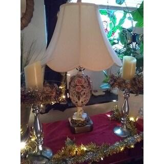Crown Lighting Cream Pongee Silk Scalloped Bell Lampshade