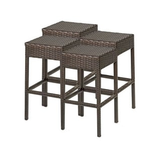 "Miseno MPF-TKC201BBS-2X Wine Country 4-Piece 30"" Tall Aluminum Framed Outdoor Backless Barstool Set"