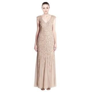 Aidan Mattox Beaded Godet Evening Gown Dress - 8
