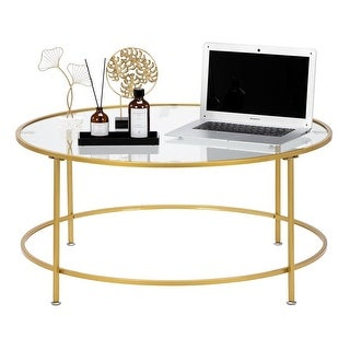 "Link to Modern 36"" 2 Layers 5mm Glass Top Round Coffee Table Golden Similar Items in Living Room Furniture"