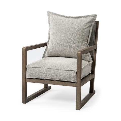 Sherlock Frost Gray Wood Frame Accent Chair