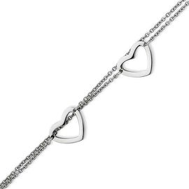 Stainless Steel Double Row with Hearts 7.5in Bracelet