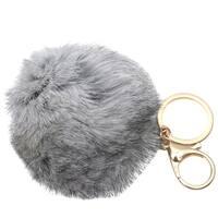 Melie Bianco Girls Gray Faux Pom Pom Soft Keychain