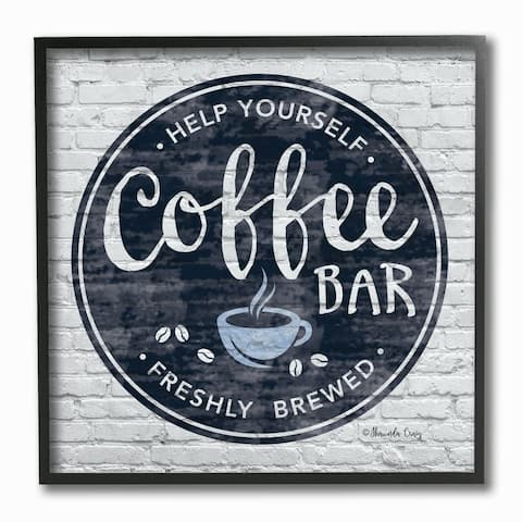 Stupell Industries Urban Coffee Bar Brick Patterned Cafe Sign Framed Wall Art,12x12 - Blue