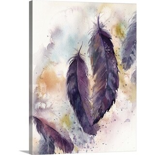 """Purple Feathers VII"" Canvas Wall Art"