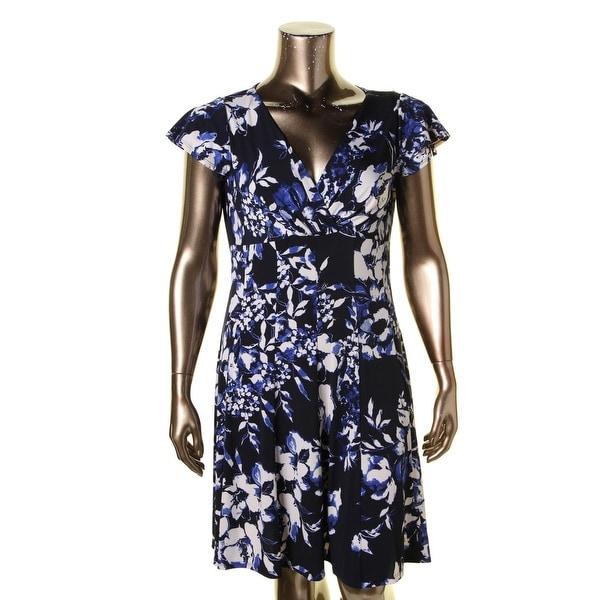 Lauren Ralph Lauren Womens Casual Dress Floral Print Surplice