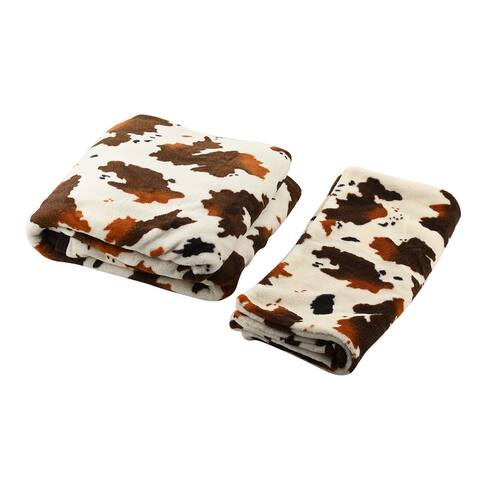 Homesmart Brown Cow Warm Cozy Coral Fleece Blanket 2 Cushion Cover - 58x86 & 17.8x17.8 Inches