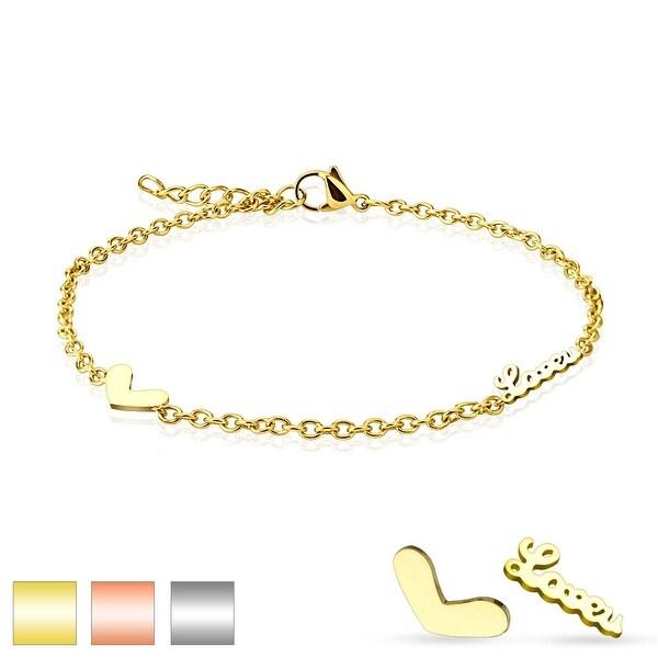 "Heart ""Love"" Charm 316L Stainless Steel Chain Anklet/Bracelet (13.5 mm) - 9.25 in"
