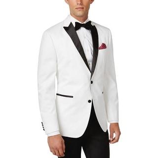 Bar III Slim Fit White Cotton Two Button Evening Jacket 40 Regular 40R