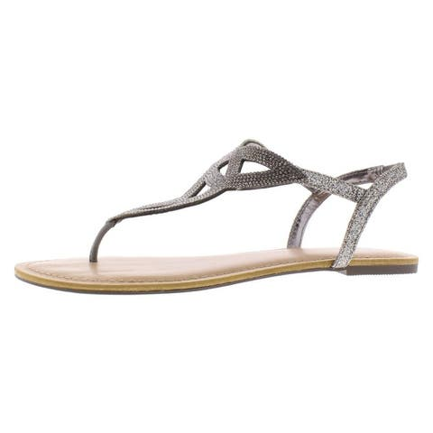 Material Girl Womens Swirlz Flat Sandals Rhinestone T-Strap