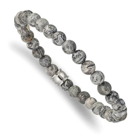 Chisel Stainless Steel Polished Grey Jasper Stretch Bracelet