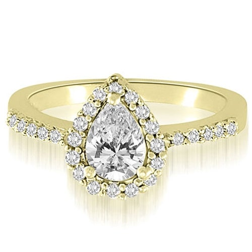 1.00 cttw. 14K Yellow Gold Pear And Round Shape Halo Diamond Engagement Ring