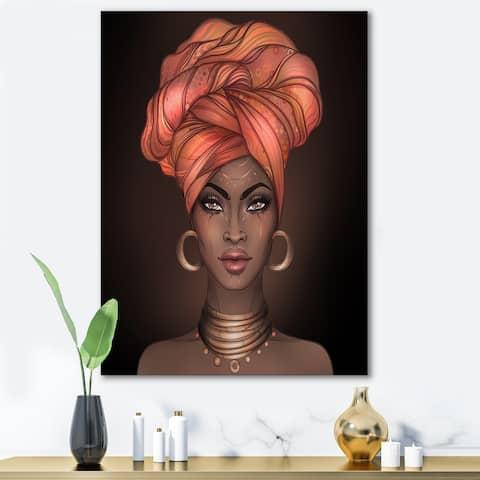 Designart 'African American Woman with Turban V' Modern Canvas Wall Art Print