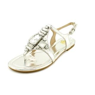 Joan & David Kadison Women Open-Toe Leather Silver Slingback Sandal