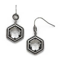 Chisel Stainless Steel Polished/Antiqued Glass and CZ Earrings
