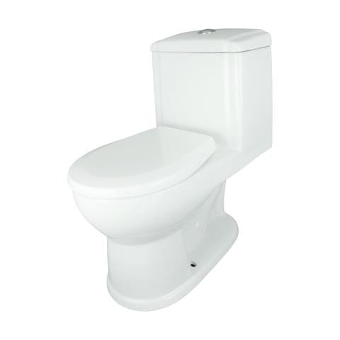 Renovator's Supply Small Round White Ceramic One-Piece Bathroom Toilet