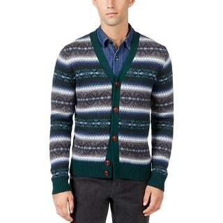 Tommy Hilfiger Mens Cardigan Sweater Wool Pattern