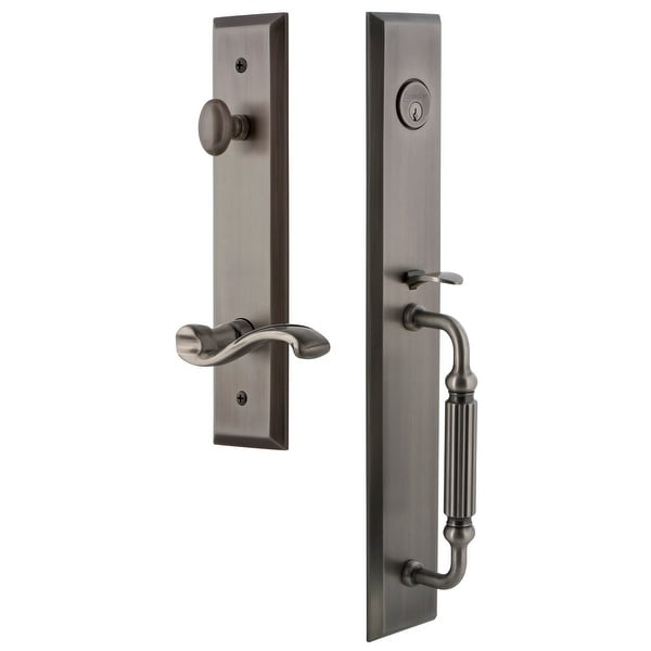 "Grandeur FAVFGRPRT_ESET_234_RH Fifth Avenue Solid Brass Rose Right Handed Keyed Entry Single Cylinder Full Plate ""F"" Grip"