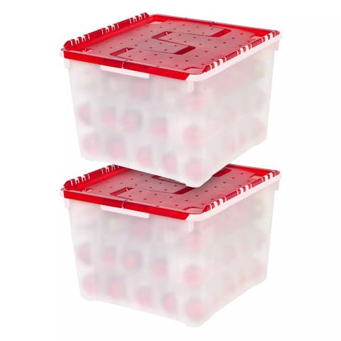 IRIS Ornament Storage Box in Pearl/Red, 2 Pack