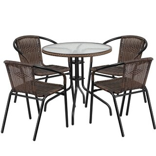 Skovde Round 28'' Glass Metal Table w/Dark Brown Rattan Edging and 4 Rattan Stack Chairs for Restaurant/Bar/Pub/Patio