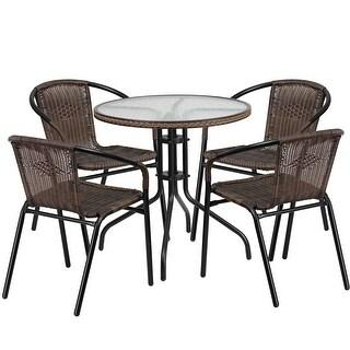 Skovde Round 28u0027u0027 Glass Metal Table W/Dark Brown Rattan Edging And 4