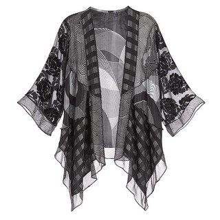 Women's Fashion Jacket - Sheer Modern Art Print with 3/4 Sleeves