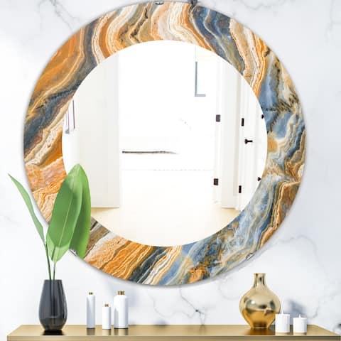 Porch & Den 'Marbled Geode 4' Traditional Mirror - Orange