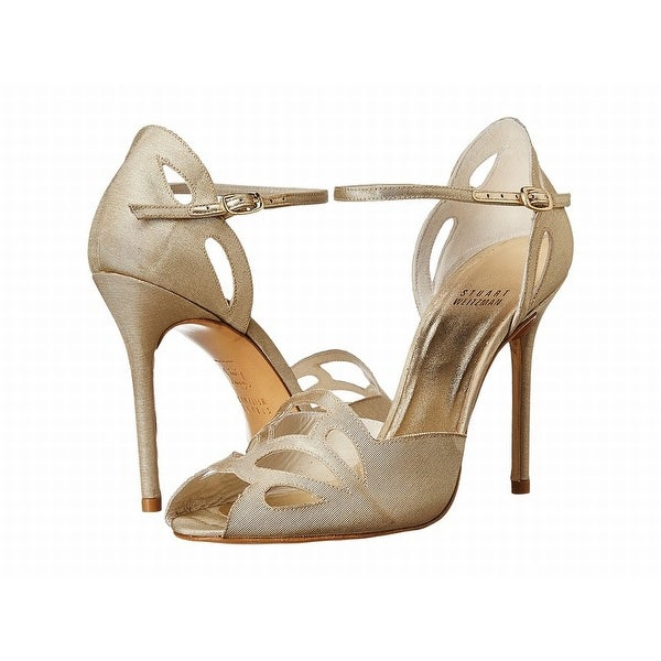 Stuart Weitzman NEW Gold Women's Shoes 9.5M Thrill Open Toe Heel
