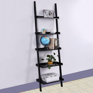 Costway Black 5-Tier Bookshelf Leaning Wall Shelf Ladder Bookcase Storage Display Furni