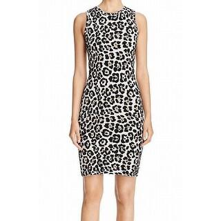 Michael Kors Beige Women's Size Small S Animal Print Sweater Dress