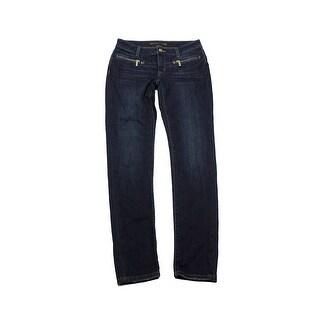 Michael Michael Kors Dark Blue Wash Zipper-Pocket Skinny Jeans