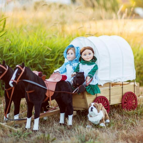 """Little House on the Prairie 18"""" Doll Covered Wagon With Winter Sleigh Conversion Kit Fits 2 Dolls Compatible with American Girl"""