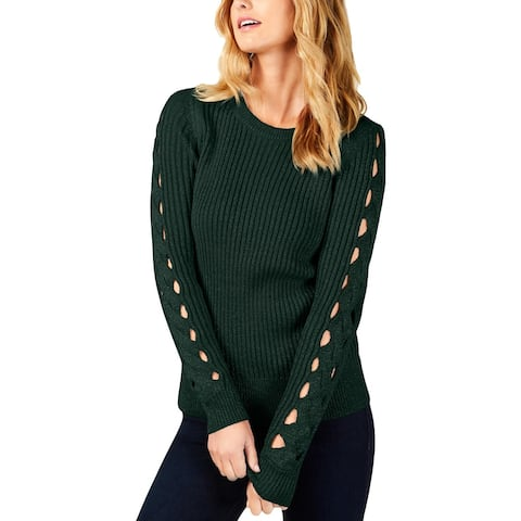MICHAEL Michael Kors Womens Pullover Sweater Glitter Cable Sleeve