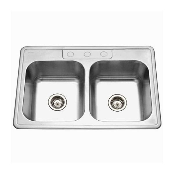 """Houzer 3322-9BS Glowtone 33"""" Double Basin Drop In 18-Gauge Stainless Steel Kitchen Sink with 50/50 Split and Sound Dampening"""