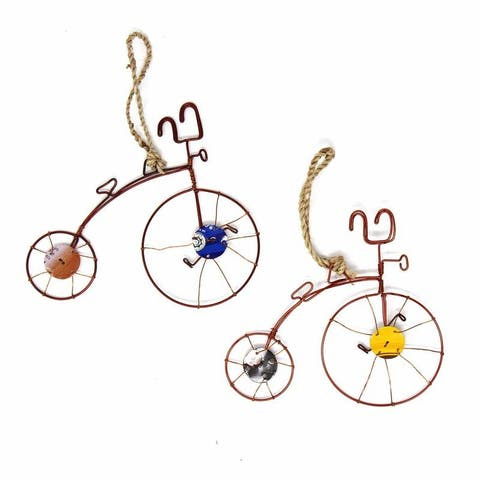 Recycled Handmade Old-Fashioned Wire Bicycle Ornament, Set of 2
