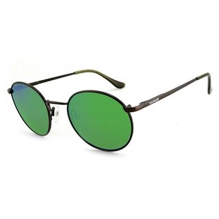 Peppers Polarized Sunglasses Lennon Antique Brown with Emerald Green Mirror Lens