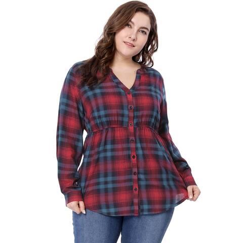 Unique Bargains Women Plus Size Empire Waist V Neck Button Down Plaid Shirt - Red