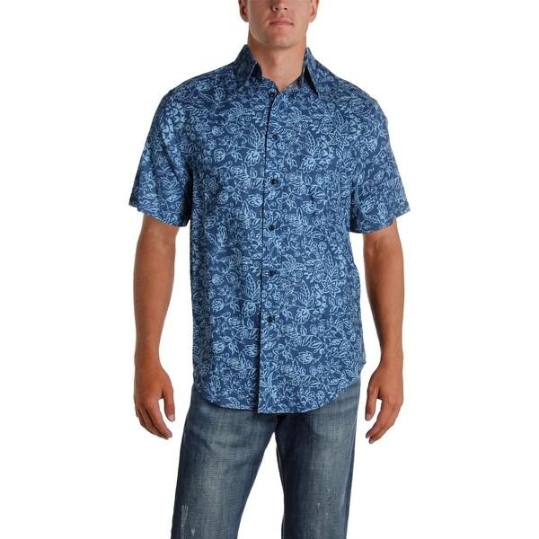 0189774ba Roundtree & Yorke Mens Hawaiian Print Shirt Linen Button Front